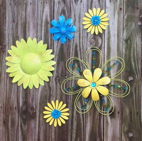 5 Lime, Blue, Yellow Metal Fence & Wall Flowers / Metal ...