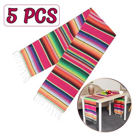 5 Pack Reversible Mexican Table Runner Tablecloth with ...