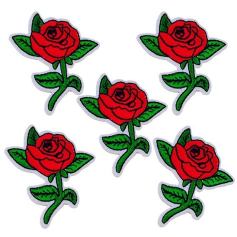 5 pcs./set  Iron On Embroidered Red Rose Patch Set 170539 ...