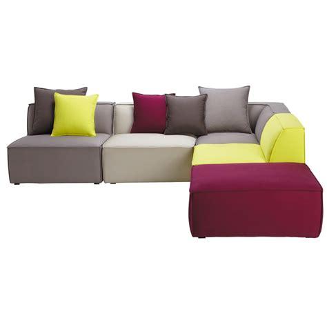 5 seater cotton modular corner sofa, multicoloured Floride ...