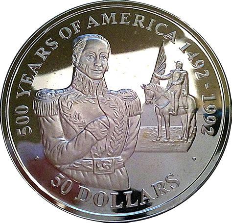 50 Dollars   Elizabeth II  Simon Bolivar    Cook Islands ...