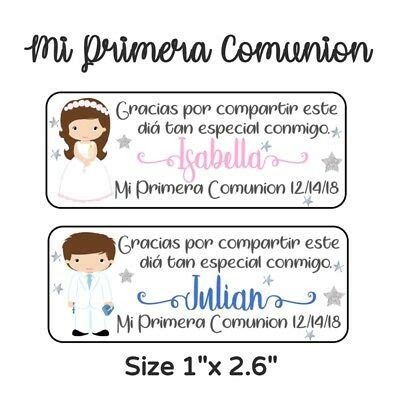 50 PC MI Primera Comunion Stickers Para Recuerdos, Favors ...