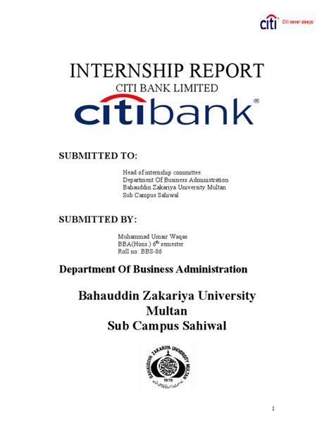 55212097 Citi Bank Internship Report | Citigroup | Life ...