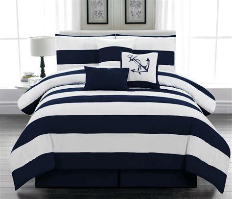 7 piece Microfiber Nautical Comforter set Navy Blue ...