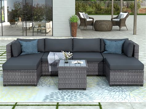 7 Piece Patio Furniture Set with 4 Rattan Wicker Chairs, 2 ...
