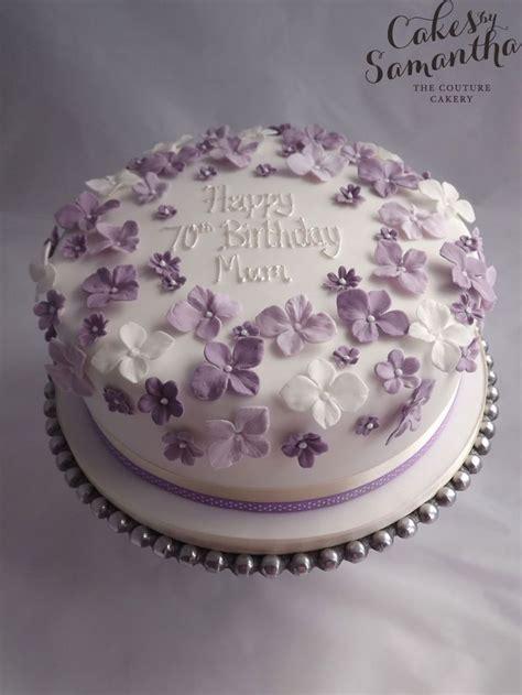 70th Birthday cake with purple flowers. … | 90th birthday ...
