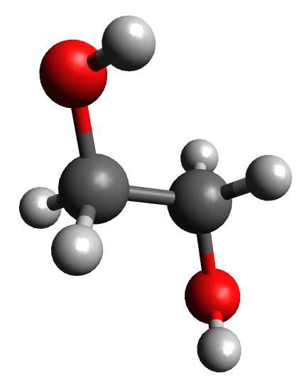 8: Molécula de etilenglicol. El código de colores es el ...