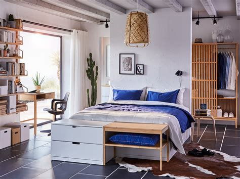 A bedroom with beautiful bamboo storage   IKEA