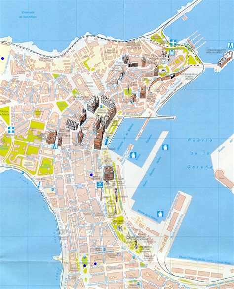 A Coruña tourist map   Full size
