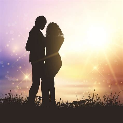 A couple silhouette on the beach sunset Vector | Free Download