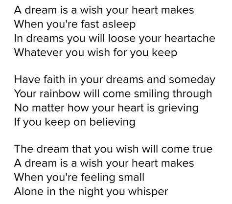 A dream is a wish your heart makes lyrics from Cinderella ...