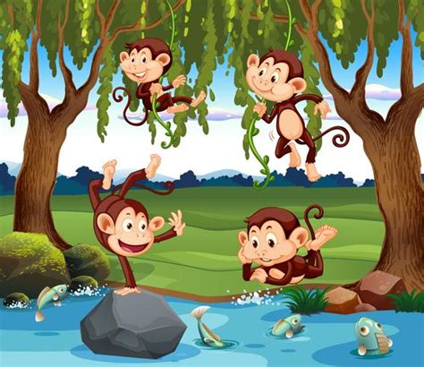 A group of monkey in nature   Download Free Vectors ...