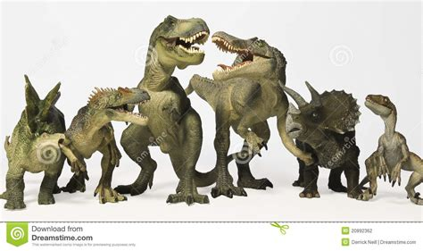A Group Of Six Dinosaurs In A Row Stock Photo   Image of ...