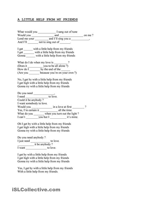 A little help from my friends | School songs, Beatles song ...