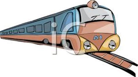A Long Train Coming Down the Tracks   Clipart