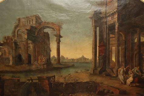 A Monumental Roman Painting of Ancient Ruins and People at ...