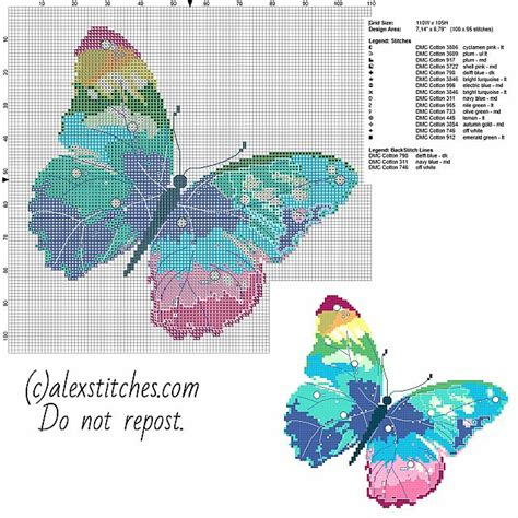 A multicolored butterfly free pcstitch cross stitch ...