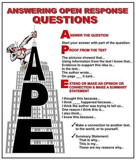 A P E: Responding to Open ended Questions | Reading skills ...