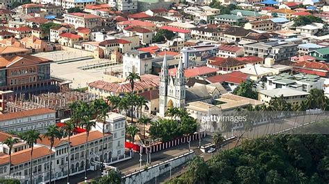 A view of the Santa Isabel Cathedral in the Equatorial ...