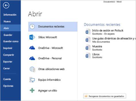 Abrir archivos desde el menú Archivo   Soporte de Office