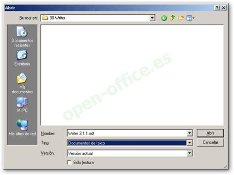 Abrir un documento existente   Manual de OpenOffice Writer