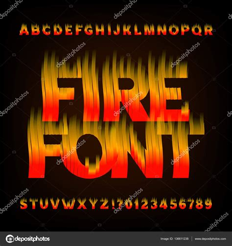 Abstract fire alphabet font. Flame effect letters and ...