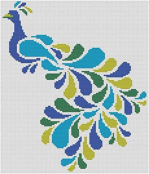 Abstract Peacock Cross Stitch Pattern, Bird Cross Stitch ...