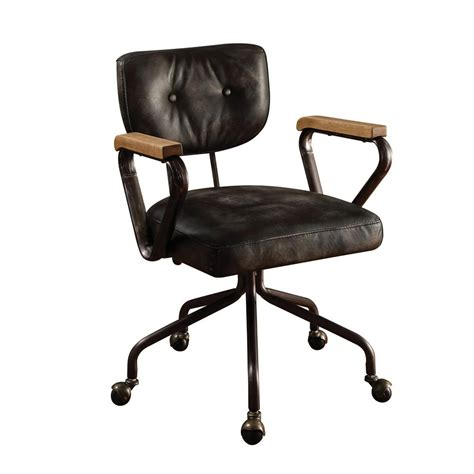 ACME Furniture Hallie Vintage Black Top Grain Leather ...