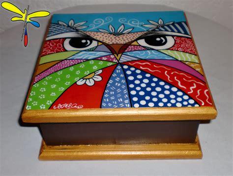 acrílico sobre madera  buho  | Cajas pintadas, Cajas decoradas