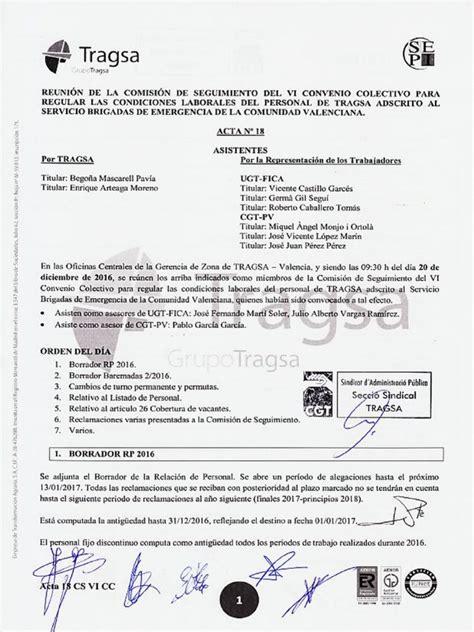 Acta 18 Comisión de Seguimiento VI Convenio Colectivo