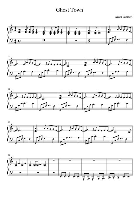 Adam Lambert   Ghost Town sheet music for Piano download ...
