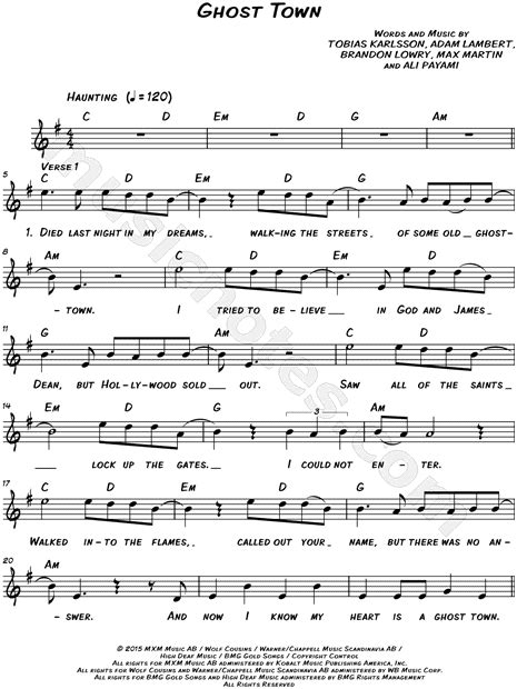 Adam Lambert  Ghost Town  Sheet Music  Leadsheet  in E ...