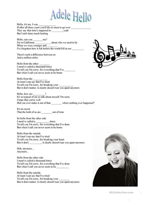 Adele Hello song   English ESL Worksheets for distance ...
