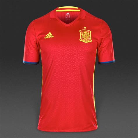 adidas Spain 2016 Home Authentic Shirt   Scarlet/Bright ...