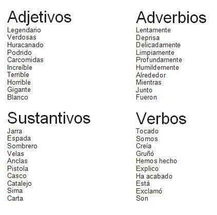 Adjetivos, adverbios, sustantivos y verbos.   Adverbios ...