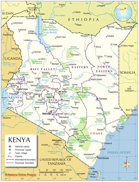 Administrative Map of Kenya   Nations Online Project