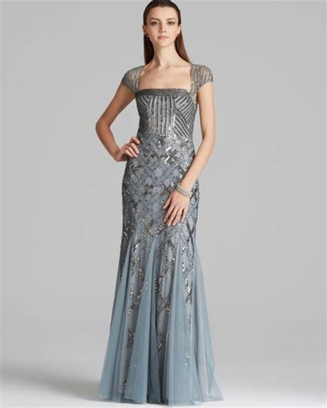Adrianna Papell Gown Cap Sleeve Beaded in Blue  Slate  | Lyst