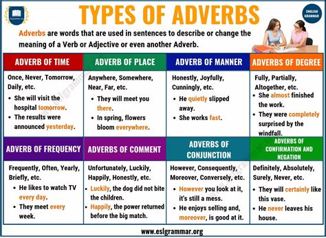 Adverbs: What is an Adverb? 8 Types of Adverbs with ...