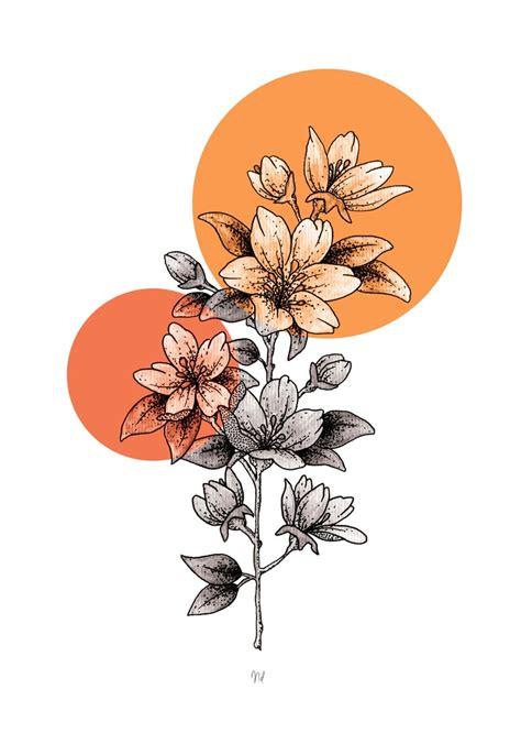 Affiche à imprimer 30x40 cm Illustration florale bohème ...
