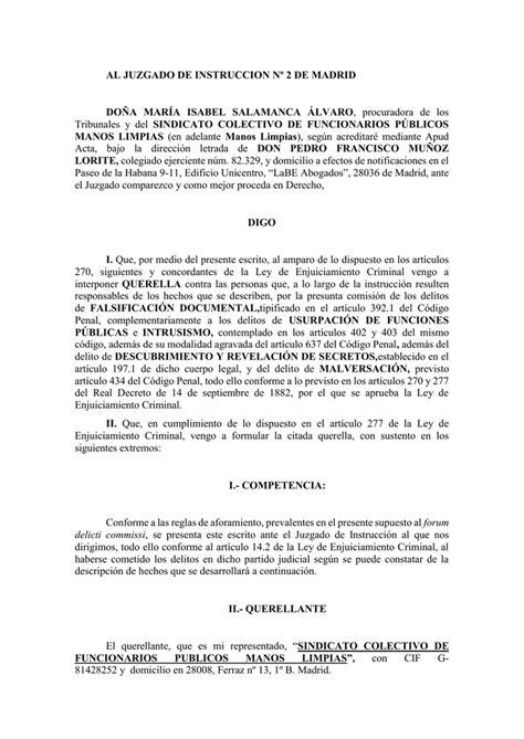 AL JUZGADO DE INSTRUCCION Nº 2 DE MADRID