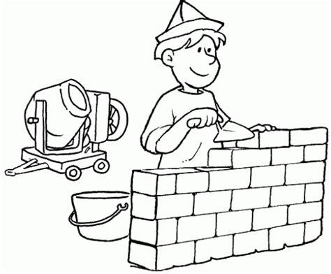 Albañil construyendo un muro   Dibujos para colorear