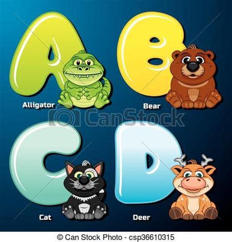 Alfabeto zoológico. lindos animales y pájaros en orden ...