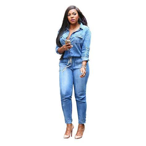 Aliexpress.com : Buy Blue Jean Denim Jumpsuits Women Long ...