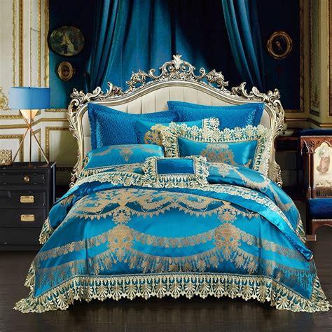 Aliexpress.com : Buy Blue Luxury Royal Bedding Set King ...