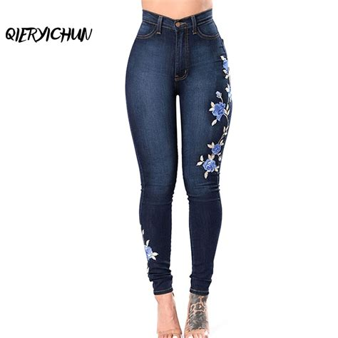 Aliexpress.com : Buy Women Elastic Embroidered Jeans Rose ...