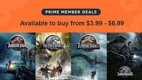 All 4 Jurassic Park/World movies are on sale for $6.99 or ...