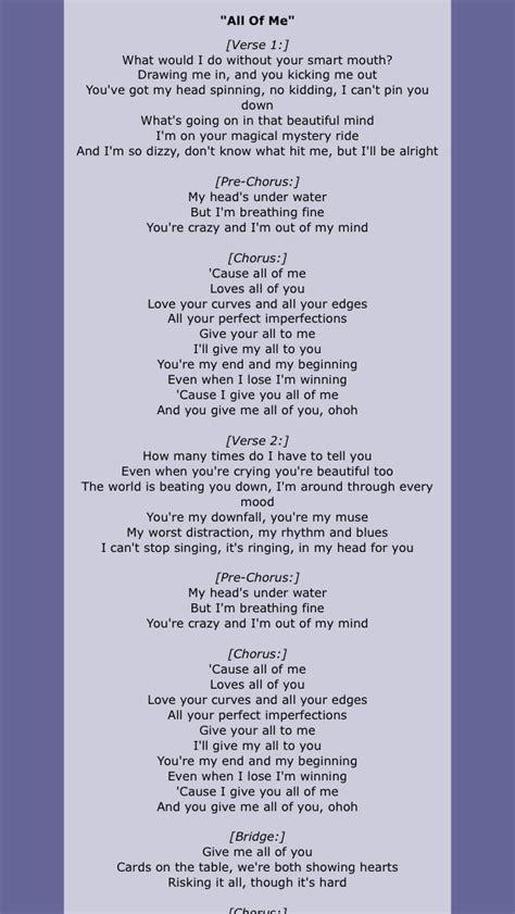 All of Me John Legend | Love songs lyrics, Love yourself ...