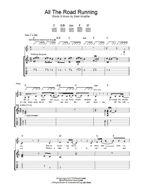 All The Road Running   Sheet Music Direct