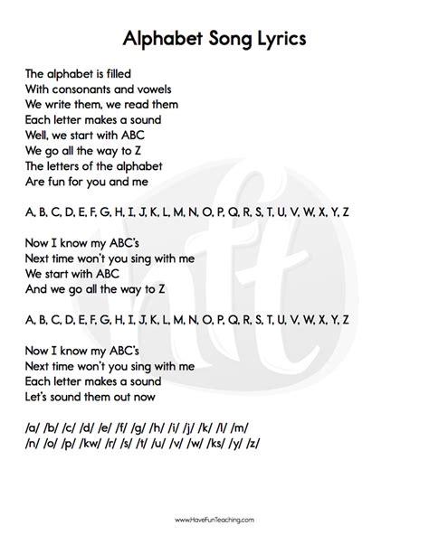 Alphabet Songs Lyrics • Have Fun Teaching