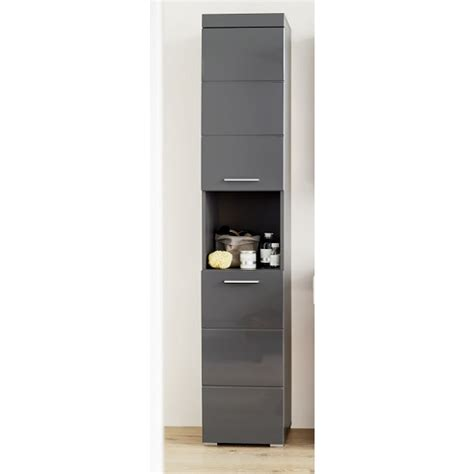 Amanda Tall Bathroom Cabinet In Grey With High gloss ...